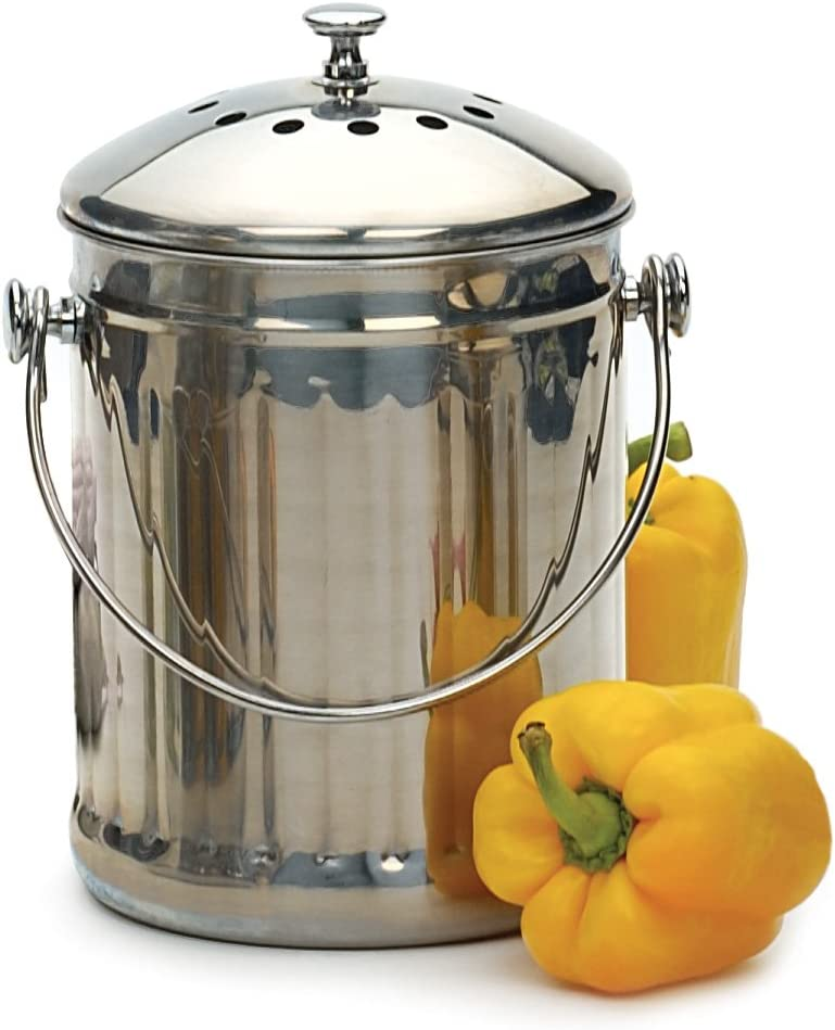 RSVP International Endurance (PAIL) Stainless Steel Compost Pail with Charcoal Filters, 1 Gallon | Keep Food Scraps & Organic Waste for Soil | 2 Charcoal Filters for Odor Control | Dishwasher Safe