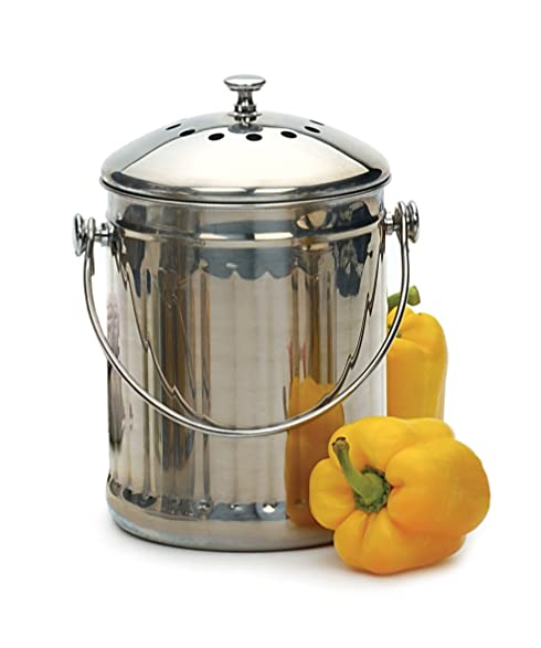 RSVP Stainless Steel Compost Pail, 1 Gallon