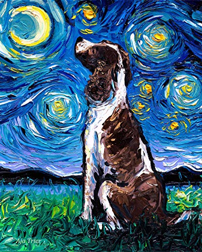 English Springer Spaniel Starry Night Rectangle Art Print Dog artwork by Aja cute colorful van Gogh animal pet wall decor choose size and type of paper