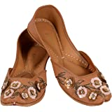 JOPELLE Look Like Leather Brown Handcrafted Leather Hand-Embroidered Work Punjabi Juttis Mojari for Women