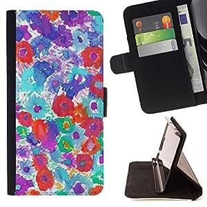 ART PINK RED FLORAL WATERCOLOR PURPLE/ Personalizada del estilo del dise???¡Ào de la PU Caso de encargo del cuero del tir????n del soporte d - Cao - For Apple Iphone 4 / 4S