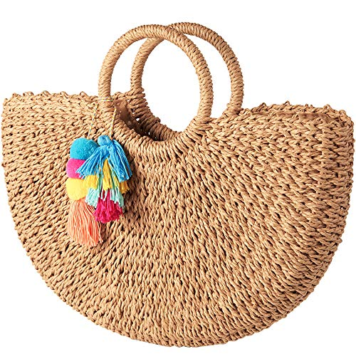 (Womens Vintage Straw Woven Handbags Large Summer Beach Bag Round Handle Ring Tote Bags with Colorful Tassels Decor)