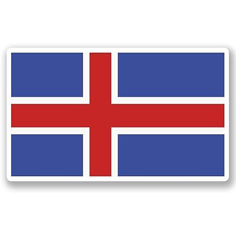 2 x 10 cm) vinilo diseño bandera Islandia iPad coche para ordenador portátil viaje equipaje