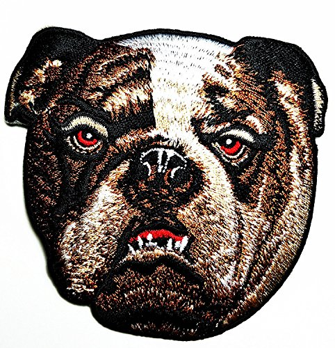 Head Pitbull Bulldog Dog Pet Logo Rider Motorcycle Bike Cartoon Movie patch Kid Baby Boy Jacket T Shirt Patch Sew Iron on Embroidered Symbol Badge Cloth Sign Costume