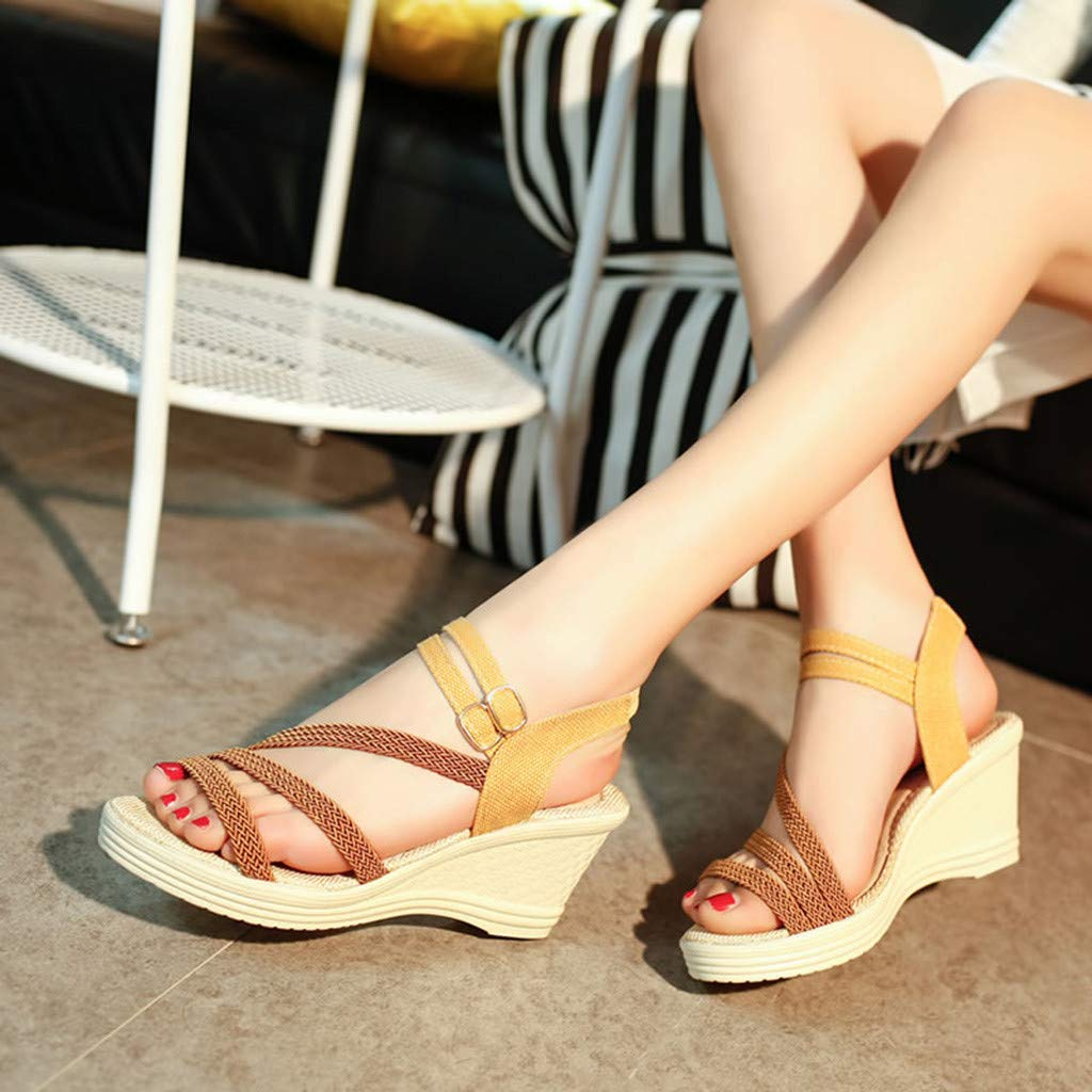 Huazi2 Women's Fashion Casual Roma Solid Buckle Platform High Heel Shoes Wedges Sandals by Huazi2 (Image #3)
