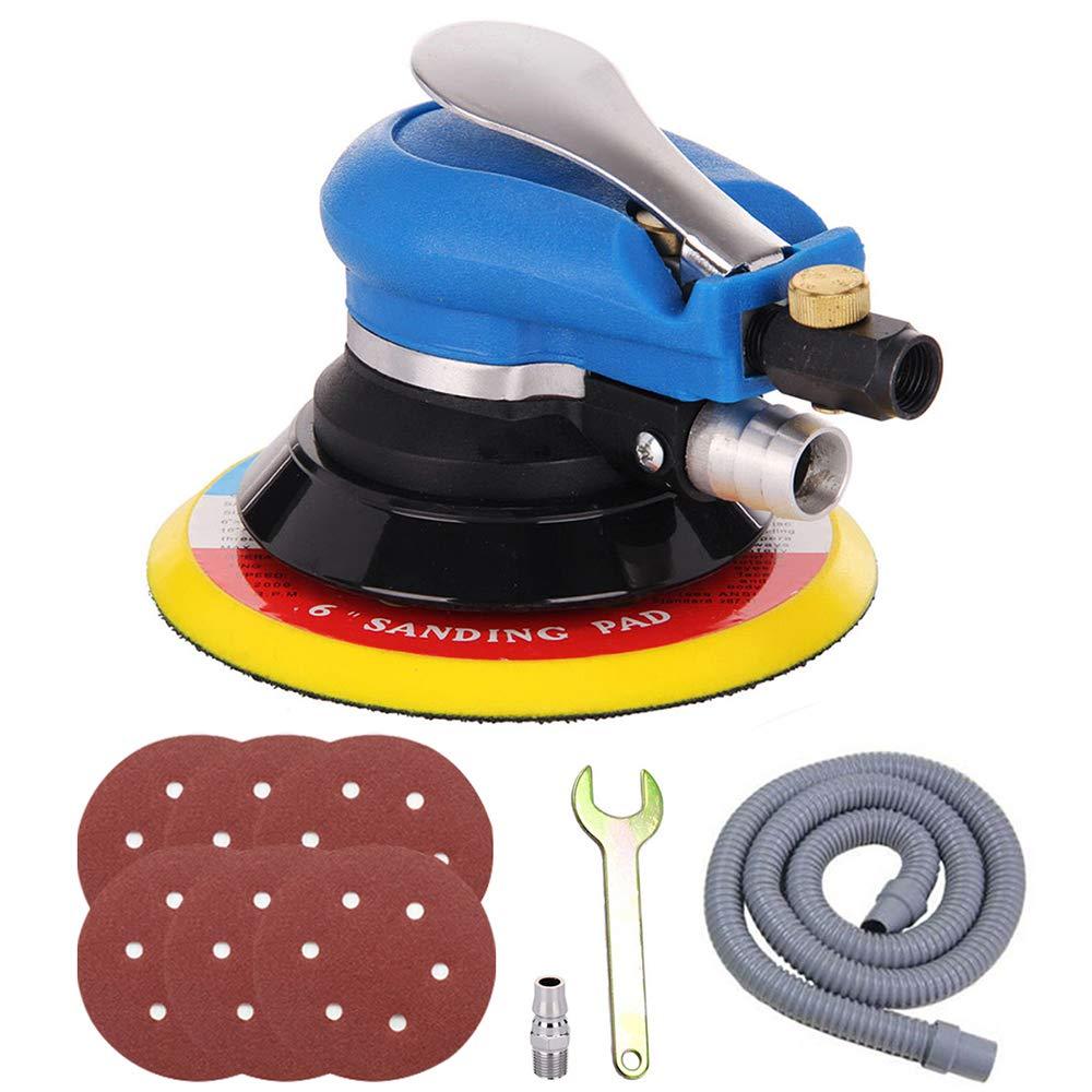 Anesty 6'' Air Random Orbital Sander, Dual Action Pneumatic Orbit Polisher Pro Grinding Sanding Tools with Vacuuming(Needed Air Compressor)