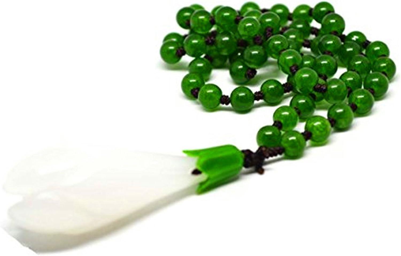 Nuevo señorías colgante de flor de magnolia Natural verde Jade perlas collar