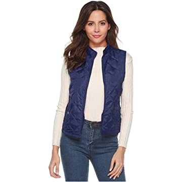 lantusi Women Casual Sleeveless Solid Cardigan Zipper Vest with Front Pockets Down