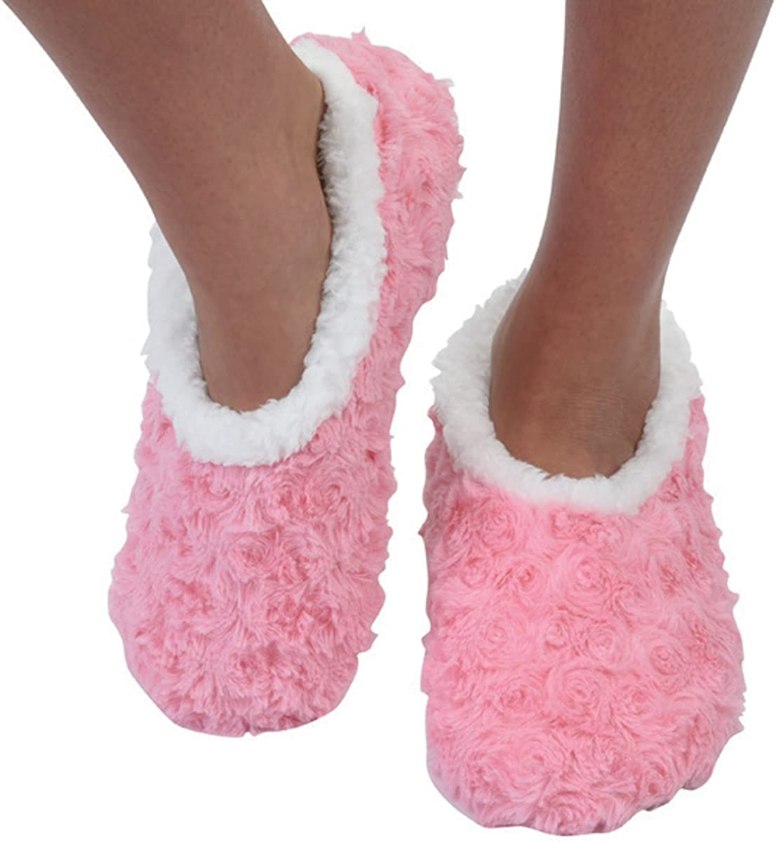 Snoozies Womens Comfy Soft Sherpa Fleece Slipper Socks Rose and Hearts Fur