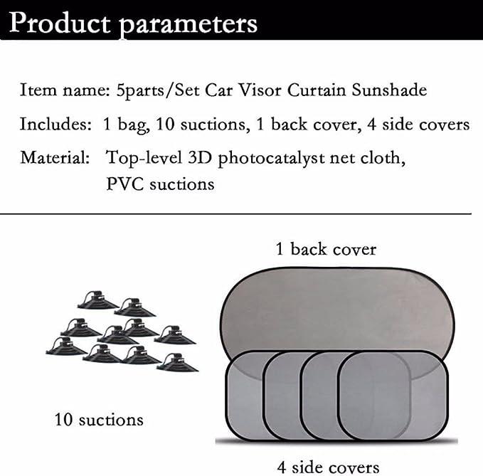 Silver Quaant Car Sun Shade,5 Pcs Car Windows Sun Shade Black Mesh Auto Sun Visor Curtain Window Sunshade Suction Cup Protection Front Rear Side