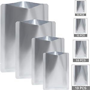 40 Pieces Food Mylar Foil Bags, 4 Sizes Metallic Heat Aluminum Mylar Seal Coffee Tea Storage Foil Bean Pouch Vacuum Foil Packaging Bag (3x5 Inch, 5 x 7 Inch, 6 x 9 Inch, 8 x 11 Inch, Silver)