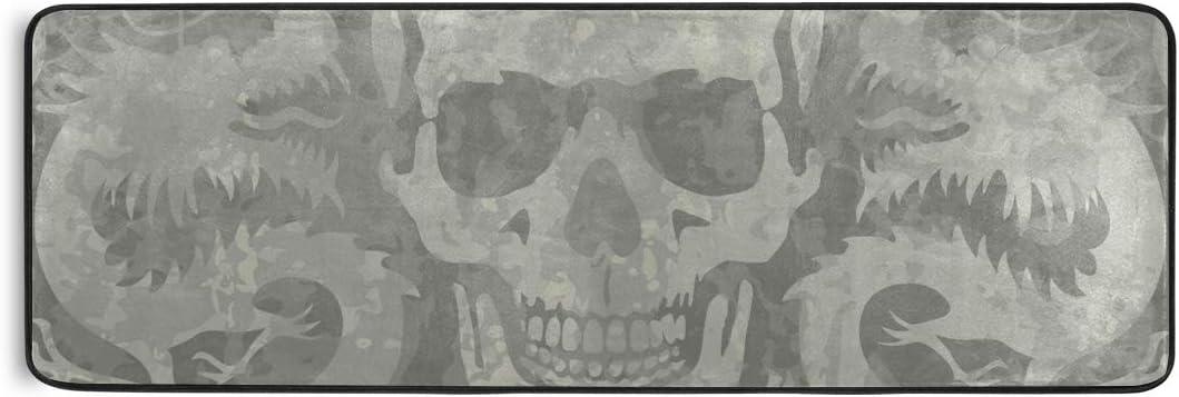 Non Slip Carpet Area Rugs Doormats Floor Mat Skulls Dragons Gray Vintage For Liv Inchg Room Home Bedroom Decorative 72x24 Inch Birds Amazon Co Uk Kitchen Home