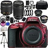 Nikon D5500 DX-format Digital SLR Body (Red) with Nikon AF-P DX NIKKOR 18-55mm f/3.5-5.6G VR Lens & Nikon AF Zoom-NIKKOR 70-300mm f/4-5.6G Lens - International Version (No Warranty) 32GB Bundle
