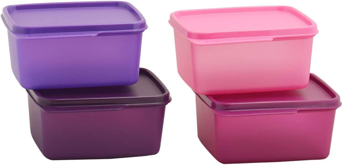Amazon Com Tupperware Keep Tab Plastic Container Set 500ml Set Of 4 Multicolour Kitchen Dining