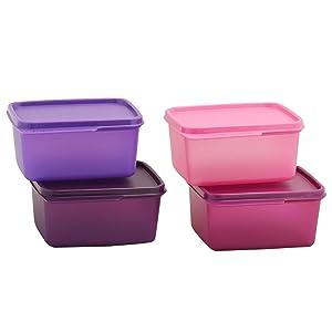 Tupperware Keep Tab Plastic Container Set, 500Ml, Set Of 4, Multicolour