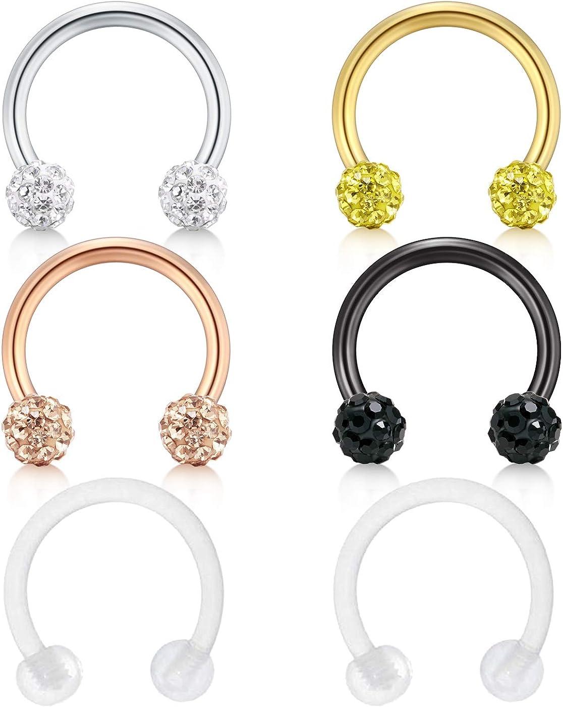 Zolure 16g 10mm Stainless Steel Crystal Ball Tragus Earrings