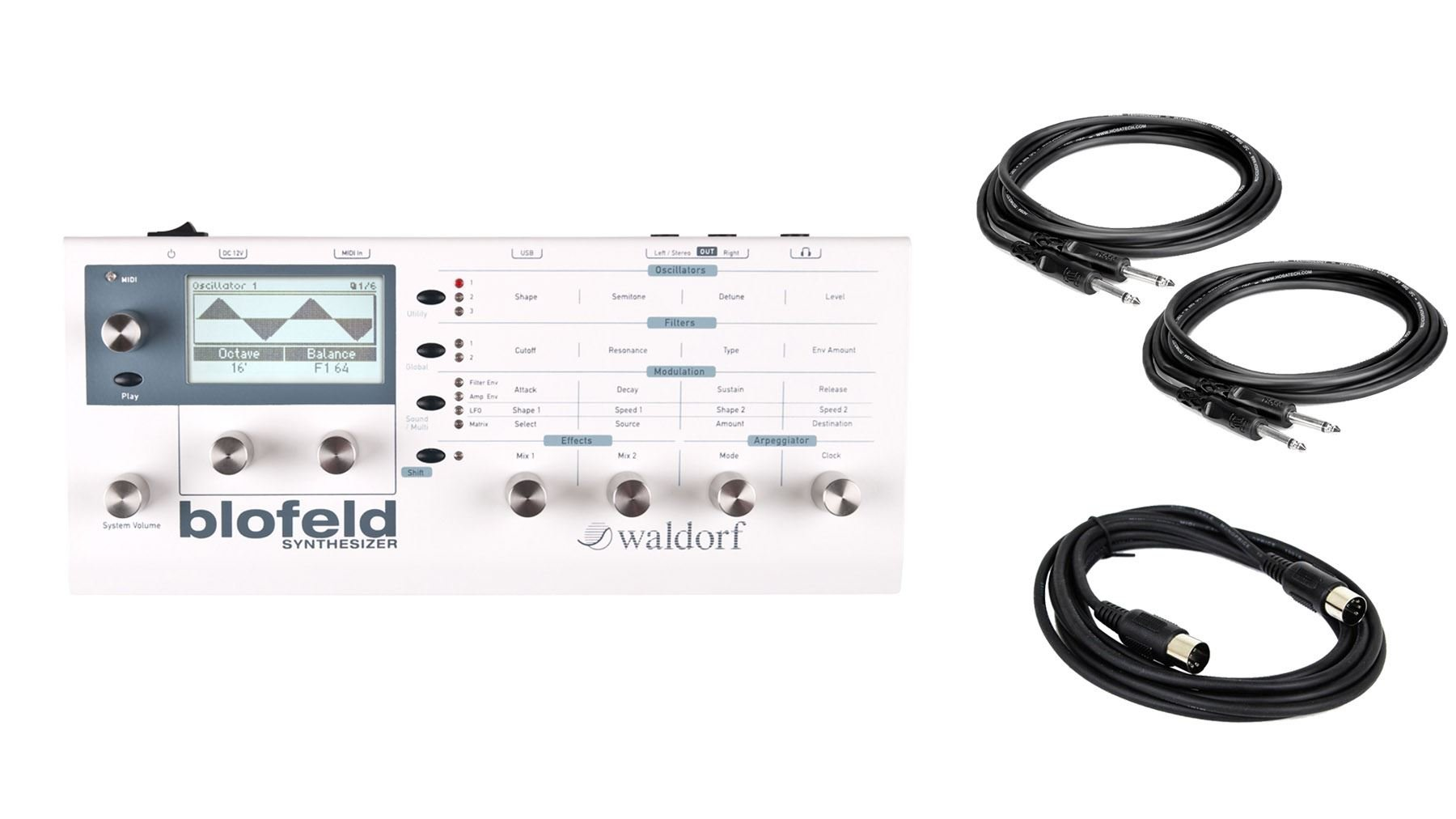 Waldorf White Blofeld Synthesizer Desktop Module Bundle with 2 Instrument & MIDI Cable (4 Items)