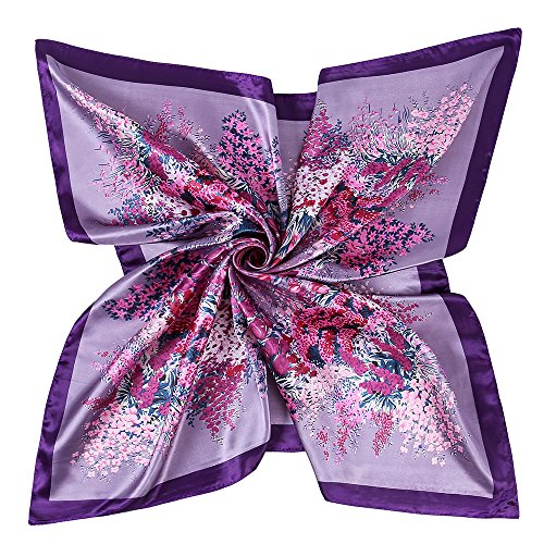 YOUR SMILE Polyester Scarf Women's Fashion Pattern Purple Flower Large Square Satin Headscarf 35''x35'' (807) ()