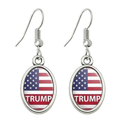 GRAPHICS & MORE Pendientes de Gota ovalados con diseño de la Bandera de Estados Unidos de América: Amazon.es: Joyería