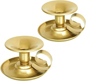 Retro Iron Taper Candle Holder, Set of 2, Simple Gold Candlestick Holders Candlelight Stand for Halloween Christmas Dining Room Home Decoration Display