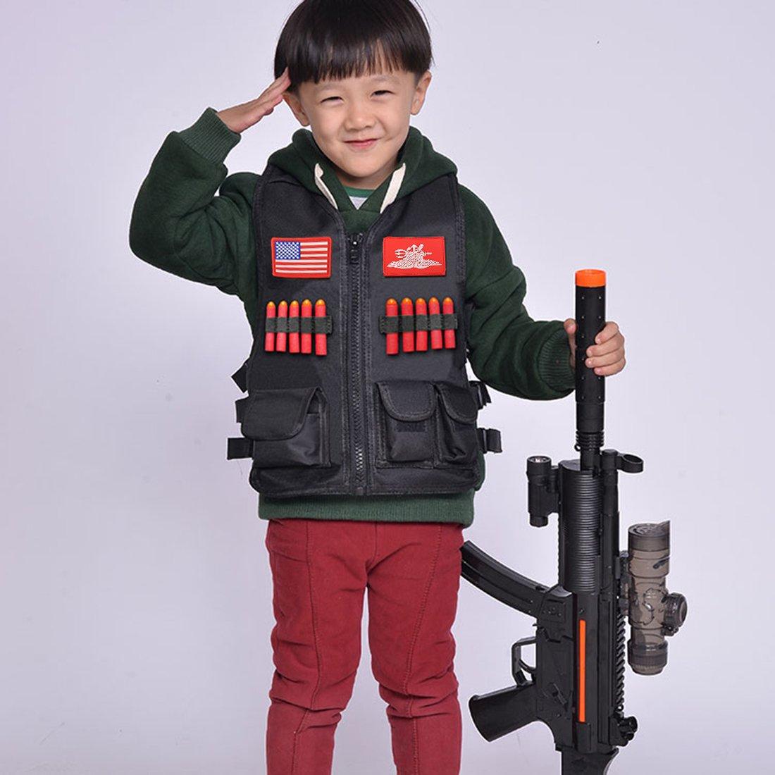 Nero LoKauf Tattico Bambino Gilet Vest con Distintivo per Nerf CS