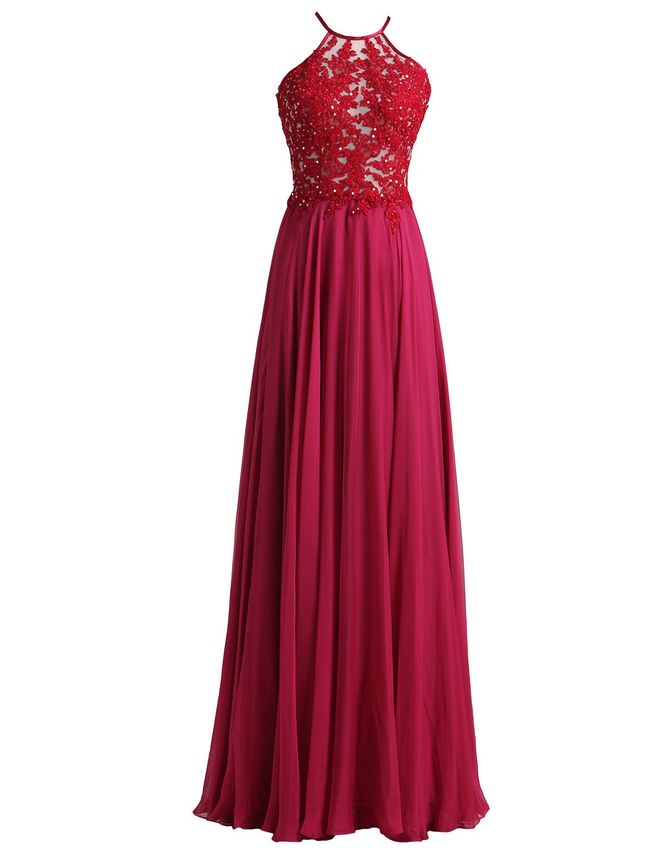 Tdress 2017 Spaghetti Straps A Line Chiffon Prom Dresses Size 6 Burgundy by Tdress