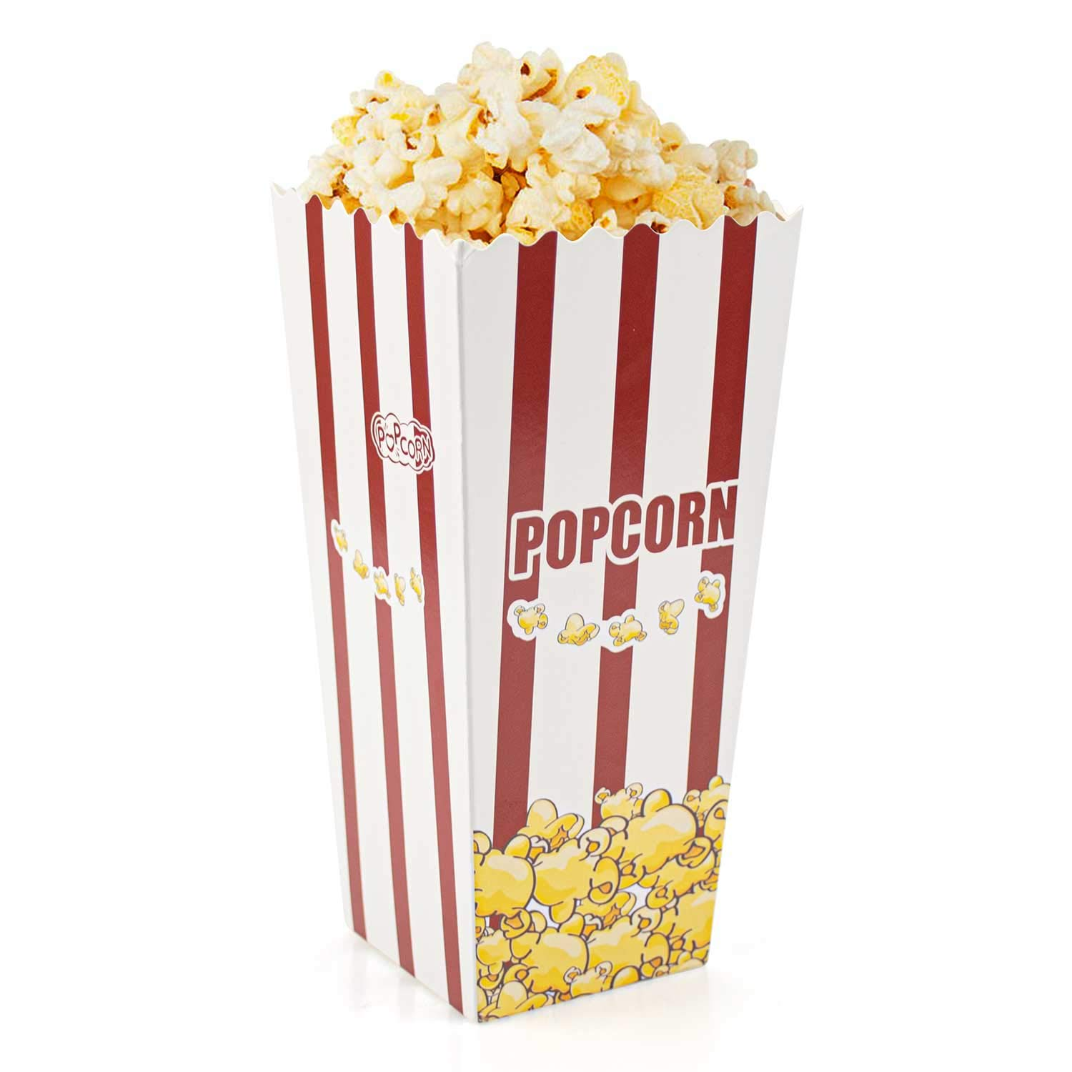 Lawei 100 Pack Open-Top Popcorn Boxes - 7.8 inch 46 oz Foldable Popcorn Containers by Lawei