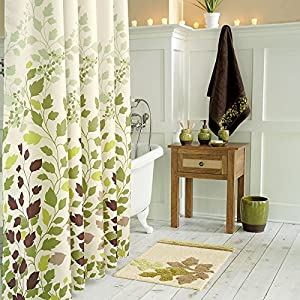 DS BATH Tulip Tree Green Leaves Shower CurtainFlower CurtainPlants Curtains For BathroomFloral Bathroom CurtainsPrint Waterproof Polyester