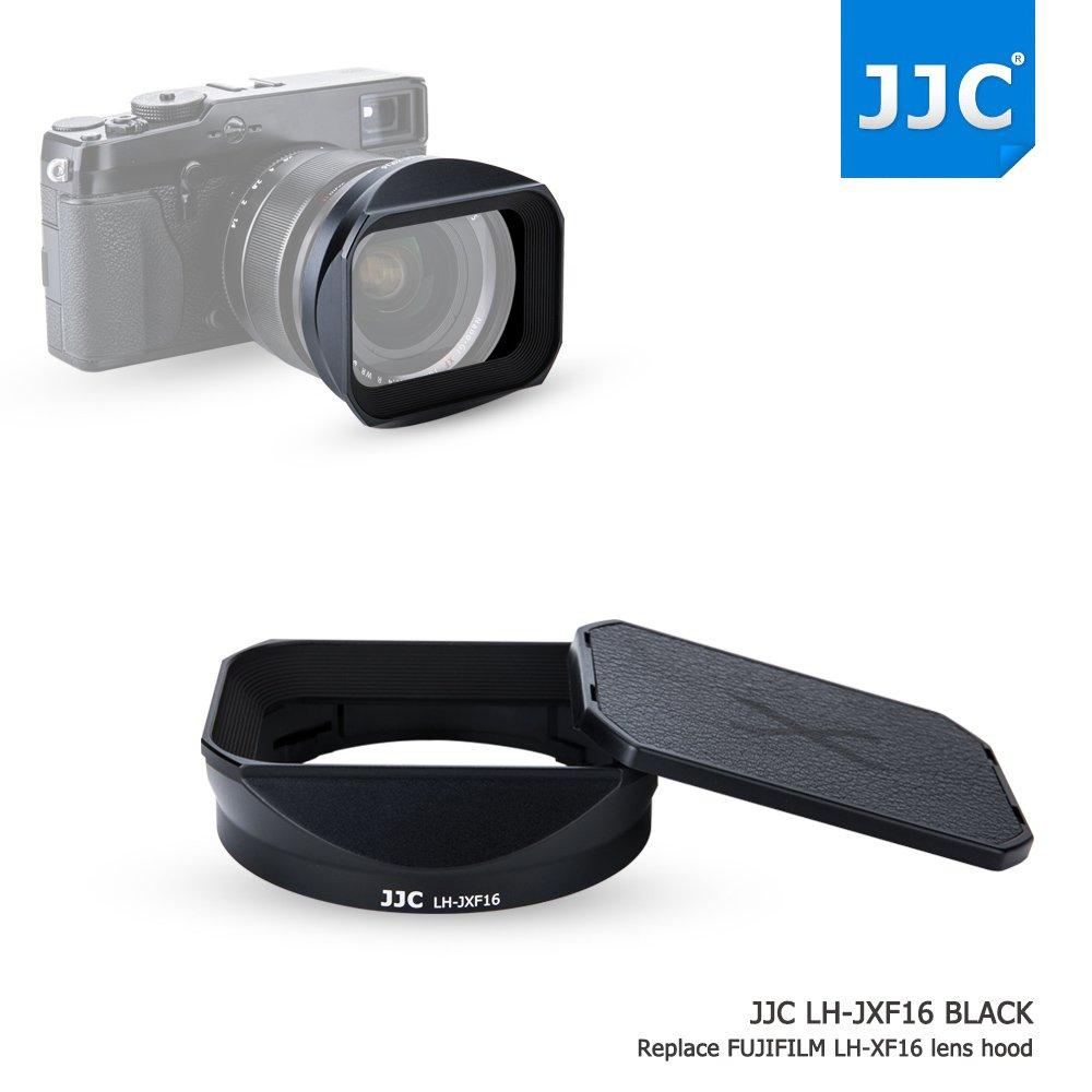 JJC Bayonet Black Square Metal Lens Hood Shade with ABS Slide-in Hood Cap for Fujifilm Fujinon XF 16mm F1.4 R WR Wide Angle Lens on X-Pro2 X-Pro1 X-T2 X-T1 X-T20 X-T10 X-E2S replaces Fuji Hood LH-XF16