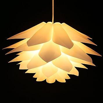 Lampwin Ceiling Pendant Lights DIY IQ Jigsaw Puzzle Lotus Flower Lamp Shade  Kit Chandelier 53CM/