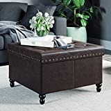 Beige Leather Ottoman Coffee Table Nathan James 73303 Fodable Storage Ottoman Leather Square Seat, Brown