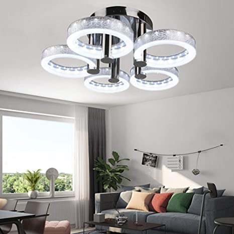 LED Design Ceiling Light Living Room Modern Acrylic White Aluminum Look 6 Watt
