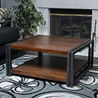 Square Coffee Table - Contemporary Dark Oak Wood Tone And Metal Frame - Low Storage Shelf - Vintage Living Room Furniture