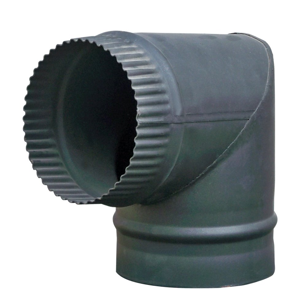Lincsfire 6' 90 Degree Bend Steel Flue Pipe Chimney for Wood Log Burning Multifuel Stove Manufactured for Lincsfire