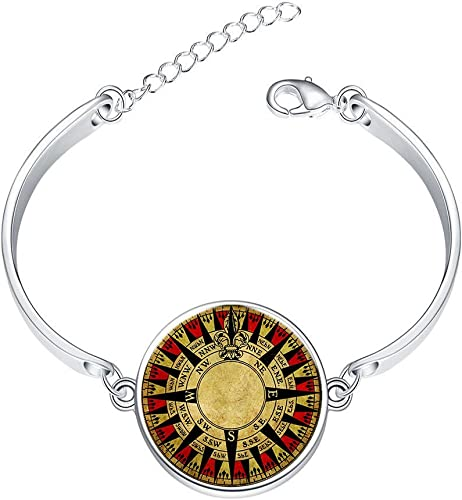 Adjustable Silver Bracelets Digital CompassHand Chain Link Bracelet Clear Bangle Custom Glass Cabochon Charm