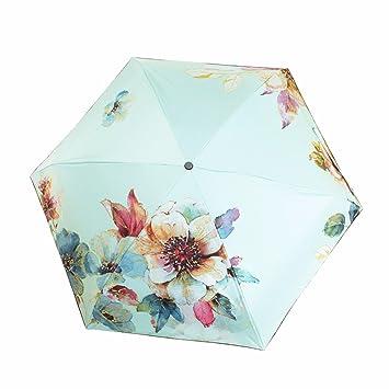 SFSYDDY-Mitad Paraguas Flores De Colores Luz Ultra Mini Bolsillos Claro Paraguas Sombrilla Paraguas Plegable