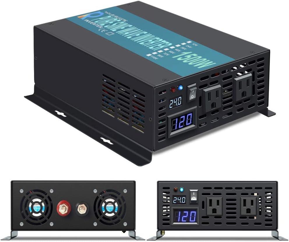 1500W 24V Pure Sine Wave Inverter Off Grid Solar Home use Converter 1500 Watt 24 Volt to 120V AC Power Inverter
