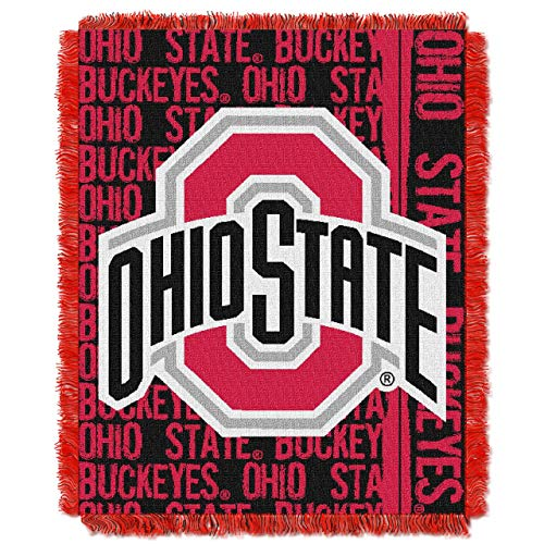The Northwest Company Officially Licensed NCAA Ohio State Buckeyes Double Play Jacquard Throw Blanket, 48' x 60'