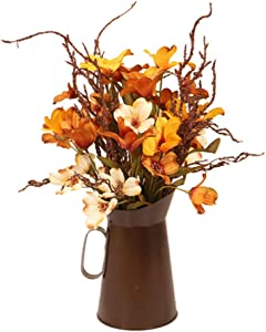 Takefuns Autumn Color Artificial Silk Flowers Bouquet with Iron Vase,House Prop Autumn Fall Harvest Thanksgiving Decoration for Table Home Decor