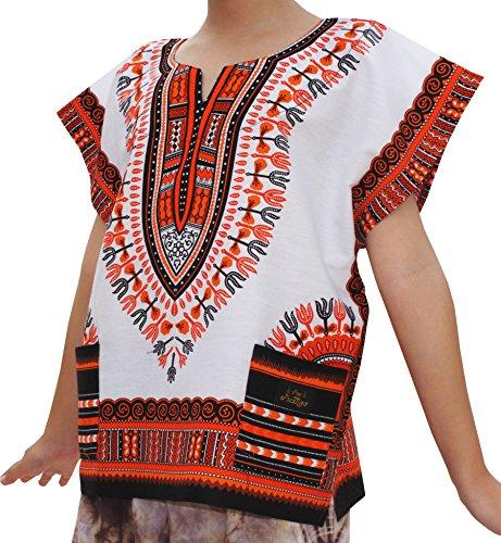 RaanPahMuang Childs Unisex African Dashiki Kaftan Shirt - XS To L - All Colours, 10-12 Years, White Light Orange by Raan Pah Muang