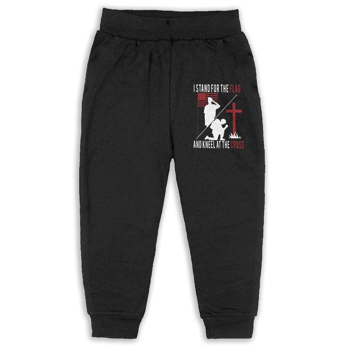 Stand for The Flag Kneel for The Cross Boys Cotton Sweatpants Elastic Waist Pants for 2T-6T