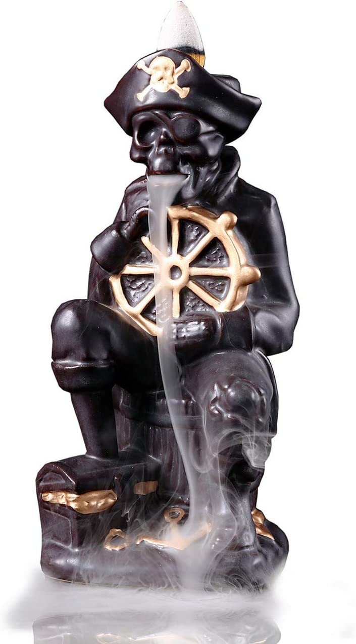 OWMMIZ Pirate Captain Backflow Incense Burner with 10 PCS Backflow Incense Cones for Waterfall Incense Holders Home Decor Gift Statue Ornaments