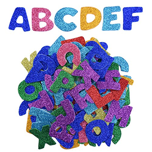 eBoot Glitter Foam Stickers Letter Sticker Self Adhesive Letters, Assorted Colors, 5 (Sparkly Letters)