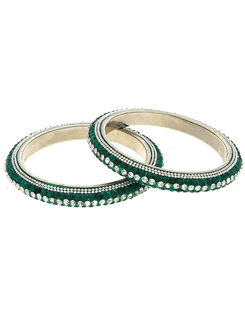 Anuradha Art Green Colour Styled with Cheed Beads Designer Ethnic Bangles Set for Women//Girls