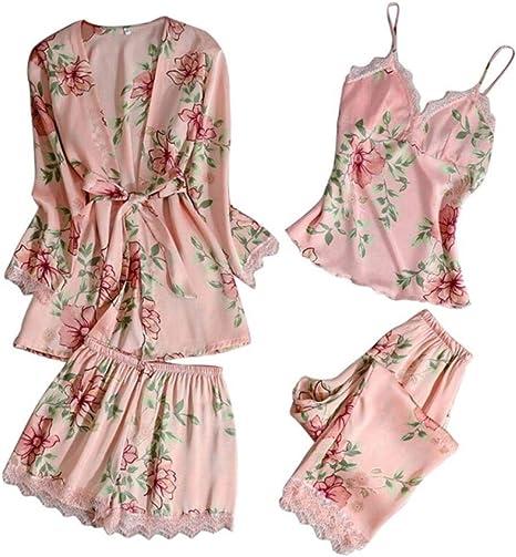 Pijamas de Seda Pijamas de Mujer 3 Piezas Ropa de Dormir de ...