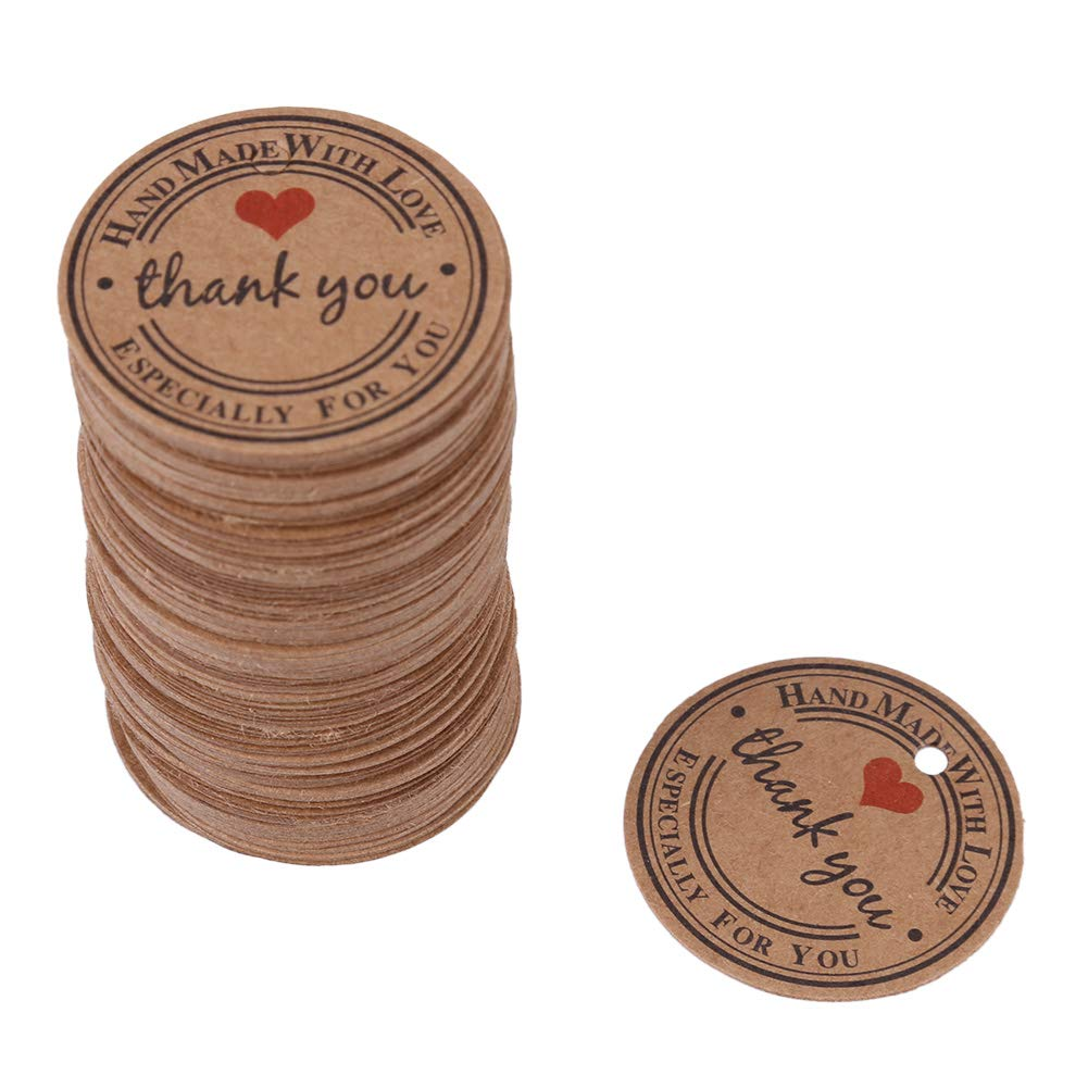 100PCS Handmade Paper Round Gift Tags,Kraft Paper Brown