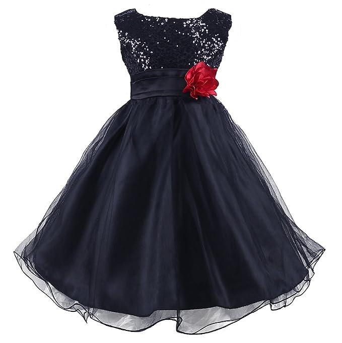 3b2134e0aef Wocau Little Girls  Sequin Mesh Tull Dress Sleeveless Flower Party Ball Gown  (100(
