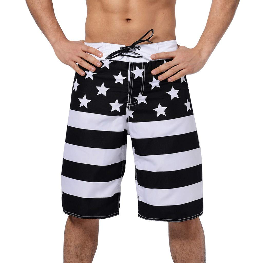 DaoAG-July 4th Men American Flag Shorts Drawstring Running Shorts Stas and Stripes Print Surf Beach Shorts Independace Day Swimwear