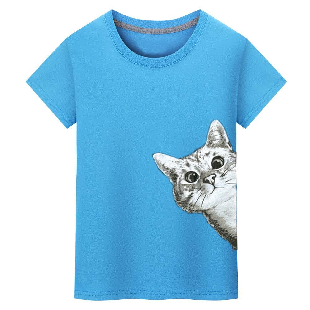 Sunhusing Mens Fashion Cute Kitten Cat Print T-Shirt Solid Color Short Sleeve Shirt Tees Tops
