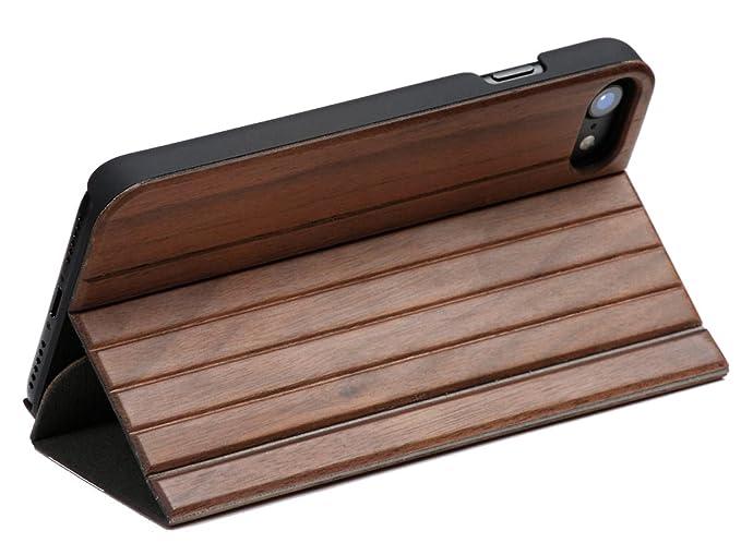 WOLA für iPhone 5 / 5s / SE Hülle Holz Forrest Handyhülle und Holz - Bambus Klapp- Fliphülle mit Magnet Nussholz